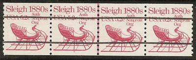 1900a - 5.2c 1880's Sleigh - PNC - Plate # Strip of 4, Line, #5 - MNH
