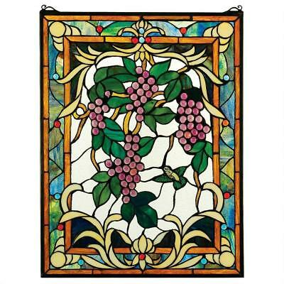 """25"""" Cabochon Grapes Vineyard Cabochons & Hand Crafted Stained Glass Window Panel"""