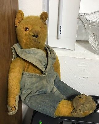 "15"" Antique Mohair Jointed Straw Stuffed Teddy Bear Primitive VIntage Used"