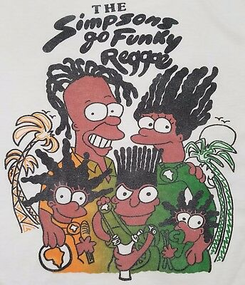 Rare Bootleg Vintage 1990s T-Shirt  - The Simpsons Go Funky Reggae