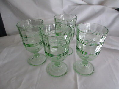 4 Martha Stewart Everyday Green Footed Rings Ribbon Drinking Glasses