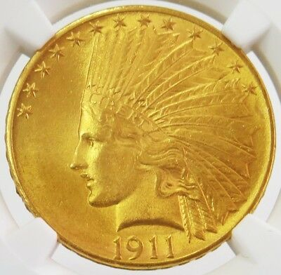 1911 Gold United States $10 Dollar Indian Head Eagle Coin Ngc Mint State 62 (Pq)