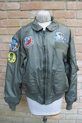 Vntage 91 US AIR FORCE CWU-36/P Flight Jacket w/ SEVEN F-16 Falcon Patches 46~48