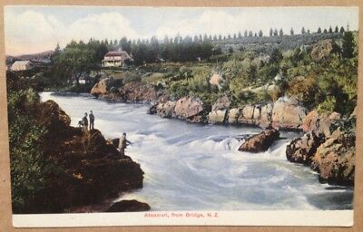 Vintage postcard: Trout Fishing, Ateamuri from Bridge, New Zealand