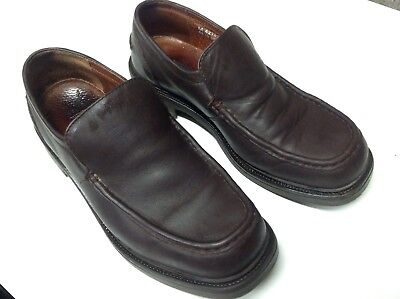 Mens Brown leather slip on shoes Next size 10