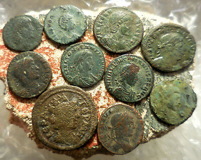 Lot of 10 Ancient Roman Coins, Largest is a 23 mm.  Easy to ID Coins.