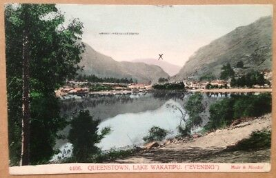 Vintage postcard:  Evening, Queenstown, Lake Wakatipu, New Zealand (1906)