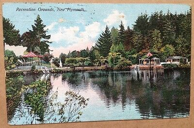 Vintage postcard, Recreation Grounds, New Plymouth, New Zealand (1909)