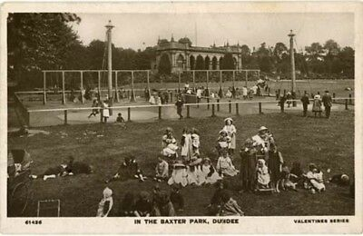 """ANGUS DUNDEE - """"IN THE BAXTER PARK"""" CHILDREN PLAYING ON SWINGS Etc R/P 1909."""