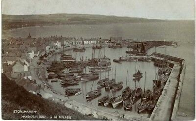 """Kincardine Stonehaven - """"harbour"""" With 60 Fishing Boats Real Photo Posted 1909."""