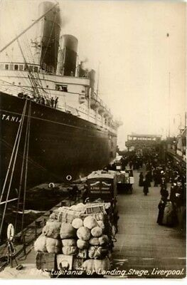 "Liverpool - Cunard Ship ""lusitania At Landing Stage Liverpool"" Real Photo 1915."