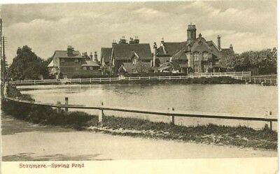 """Middlesex Stanmore - """"spring Pond"""" + Houses - Chester Vaughan Postcard 1904."""