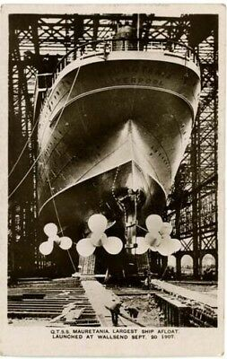 """Shipping - """"mauretania [In Dock] - Largest Ship Afloat Launch At Wallsend 1907""""."""