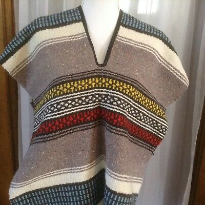 Horse Blanket Serape Poncho Mexican Pull Over Fringe One Size Brown Blue White