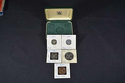 1963 Republic Of Cyprus (5) Coin Proof Set Only 25,000 Minted