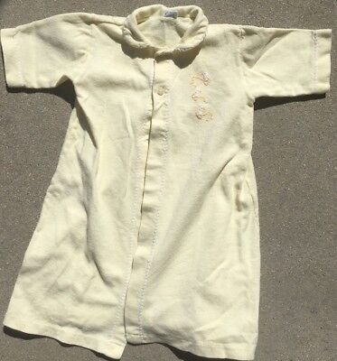 vintage yellow carters baby gown with ducky embroidery