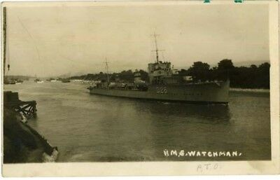 """Wirral Eastham - """"hms Watchman"""" Going Up The Manchester Ship Canal - R/p 1932."""