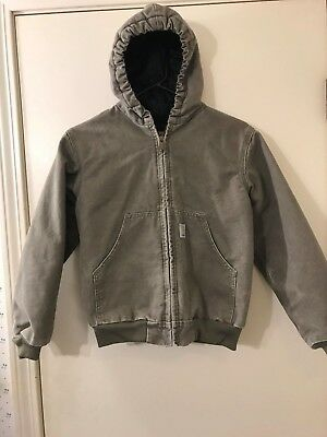 CarharttY06 DES Quilt Lined Hooded Duck Jacket Size Youth BoysMedium Reg  VGC!