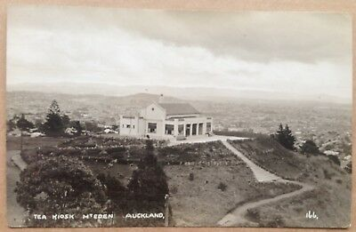 Vintage postcard: Tea Kiosk, Mt Eden, Auckland, New Zealand (real photo)
