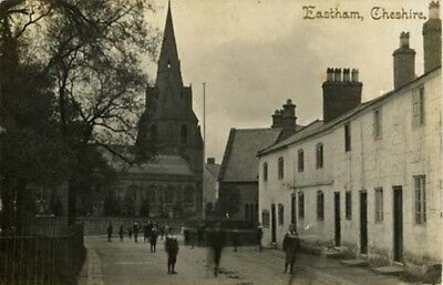 Wirral Eastham - Church + School + Children + Cottages - Walker Real Photo 1910.