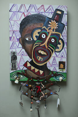 Oil on canvas Portrait of a young boy 'The African King' - SLAVE TRADE ART