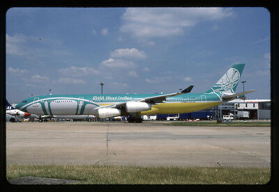BWIA West Indies Airbus A340-313X 9Y-TJN 35mm Kodachrome Aircraft Slide