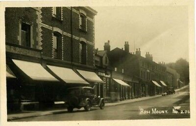 """WIRRAL OXTON - """"ROSE MOUNT"""" OXTON + CAR WITH Reg No 'CM 9064' + SHOPS 1920s."""