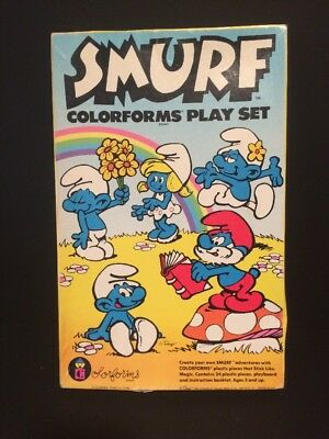 VINTAGE Smurf Colorforms Play Set Complete 1981 •FREE SHIPPING•