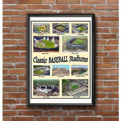Classic Baseball Stadiums Poster - Crosley Comiskey Ebbets Field Sportsmans Etc