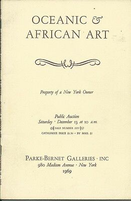 PARKE BERNET AFRICAN OCEANIC AMERICAN INDIAN ART NY Collection Catalog 1969