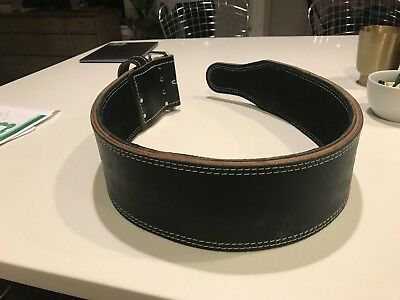 "Rogue Fitness Powerlifting Weightlifting Crossfit Belt 4"" wide Black Leather"