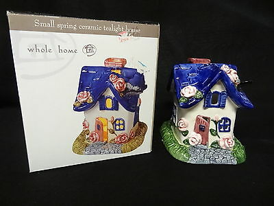 NEW Handpainted WHOLE HOME Small SPRING Ceramic TEALIGHT Votive Candle HOUSE