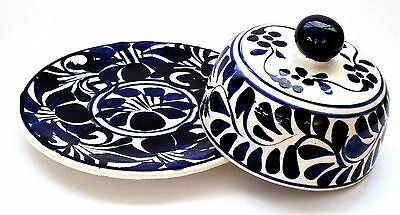 Mexican Ceramic Blue and White Covered Cheese Plate / Covered Platter