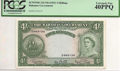 BAHAMAS ND (1953) 4 SHILLINGS NOTE, P13d, PCGS EXTREMELY FINE 40PPQ