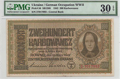 Ukraine / German Occupation 1942 200 Krabowanez, P56, Pmg Vf30 Epq