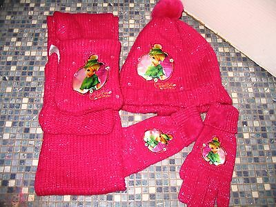 Disney Store Tinkerbell Bright Pink Scarf Hat Glove Set Age 7/10 BRAND NEW!!