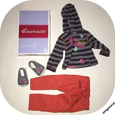 Pleasant Company American Girl Striped Hoodie Outfit Pants Shoes Box Lot