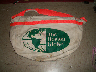 Vintage Boston Globe Newspaper Delivery Bag Very Rare Canvas