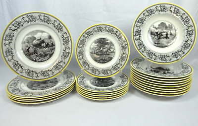 Villeroy & Boch Adun Ferme Germany Dinner Salad Plates Bowls Black Yellow White