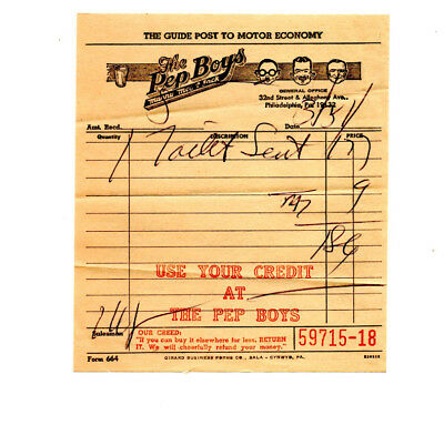 Vintage Pep Boys Used Store Receipt from 1950s? Toilet Seat
