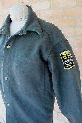 Vintage BETHLEHEM STEEL Work Safety Patch On 40s~50s Green WOOLRICH Shirt Jacket