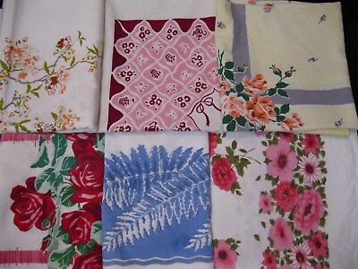 LOT of 6 TRUE VINTAGE 1950s KITCHEN TABLECLOTHS cutters crafts roses pink blue