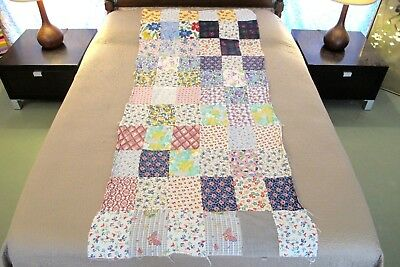 "Vintage Feed Sack, NOVELTY Prints, Machine Sewn LONG NARROW Quilt TOP; 74"" x 32"""