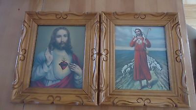 "2 VINTAGE wood CARVED Frame Religious Picture pictures JESUS & SHEPHERD 14"" X 12"