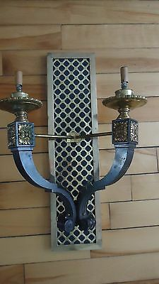 LARGE Vintage Wall Sconce Brass & METAL GOTHIC  ( 18 POUNDS 24 INCHES )