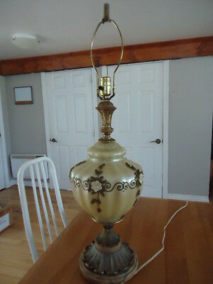 STUNNING VINTAGE  MARBLE BRASS  GLASS LAMP large
