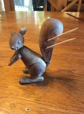 Vintage Wood Squirrel (scary) HOR D'OEUVRES Toothpick Holder Appetizers Snacks