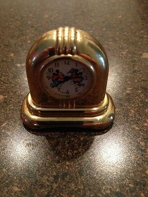 Very Nice Mickey & Minnie Mouse Dancing Gold Brass Clock Japan Movement