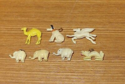 Lot 7 Mini Celluloid Plastic Ivory Color Animals*Dragon*RCA Dog*Flying Horse +