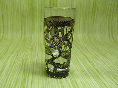 "Sterling Silver Framed 3 1/8"" Floral Etching Shot Glass Cup"